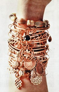 An example of a stack of Alex and Ani bracelets...my collection is not the same!