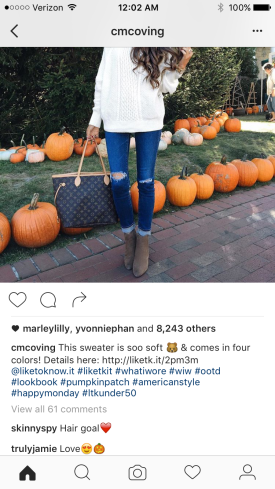 "Notice the comments people will make on fashion bloggers post as well as all of the ""likes"" she received almost 8,500! That is just from being posted a few hours ago"