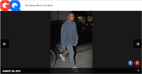 Kanye West's influence has reached so far that GQ has given him a page where they release every outfit he wears, every time he's spotted around.